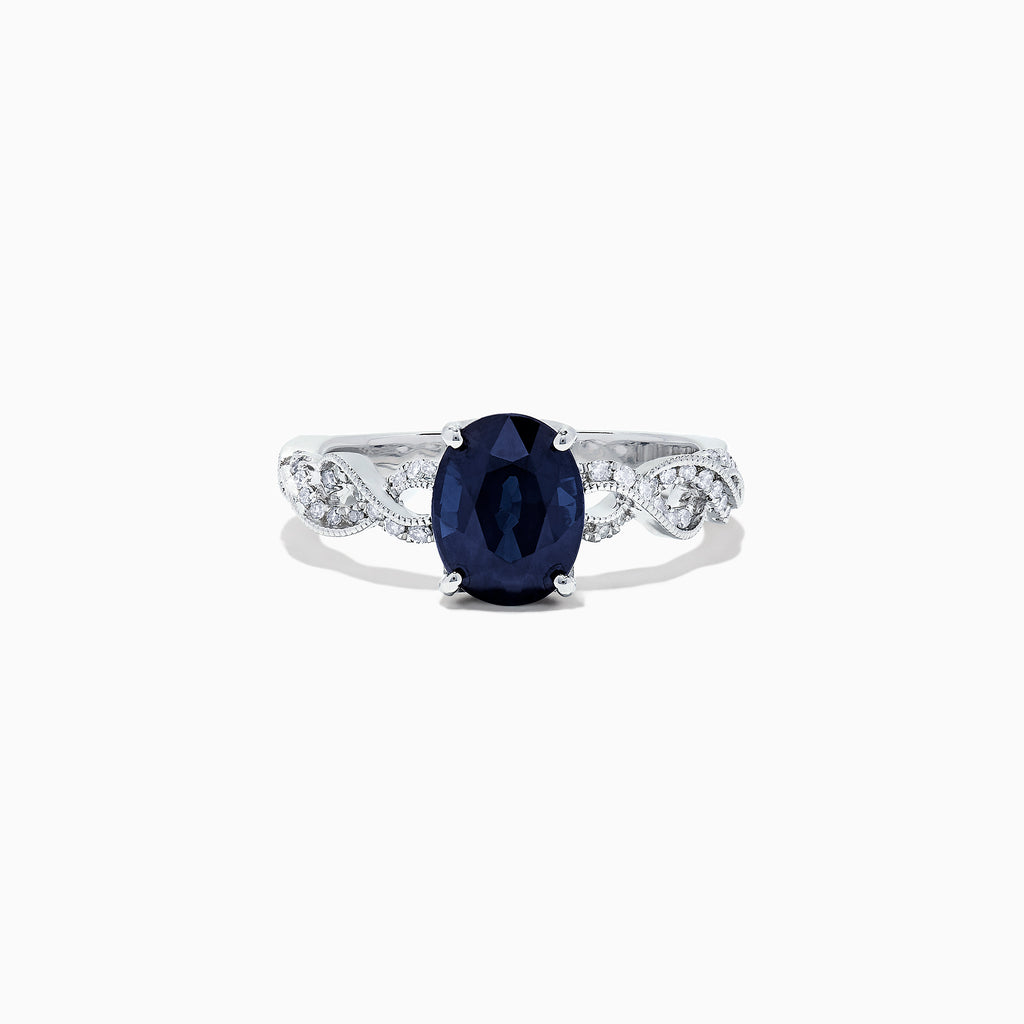 Effy 14K White Gold Blue Sapphire and Diamond Ring, 2.11 TCW
