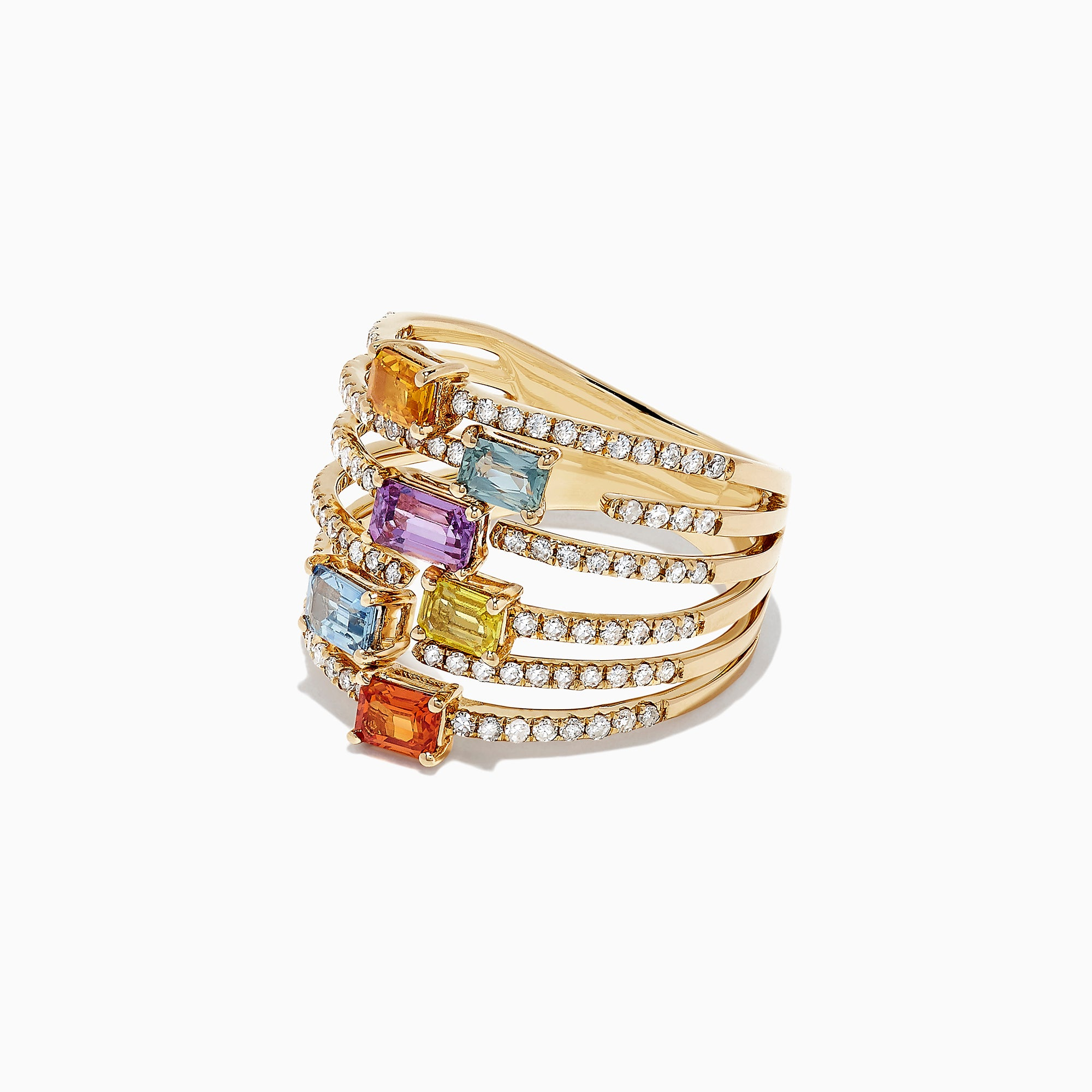 Effy Watercolors 14K Yellow Gold Multi Sapphire and Diamond Ring,2.28 TCW