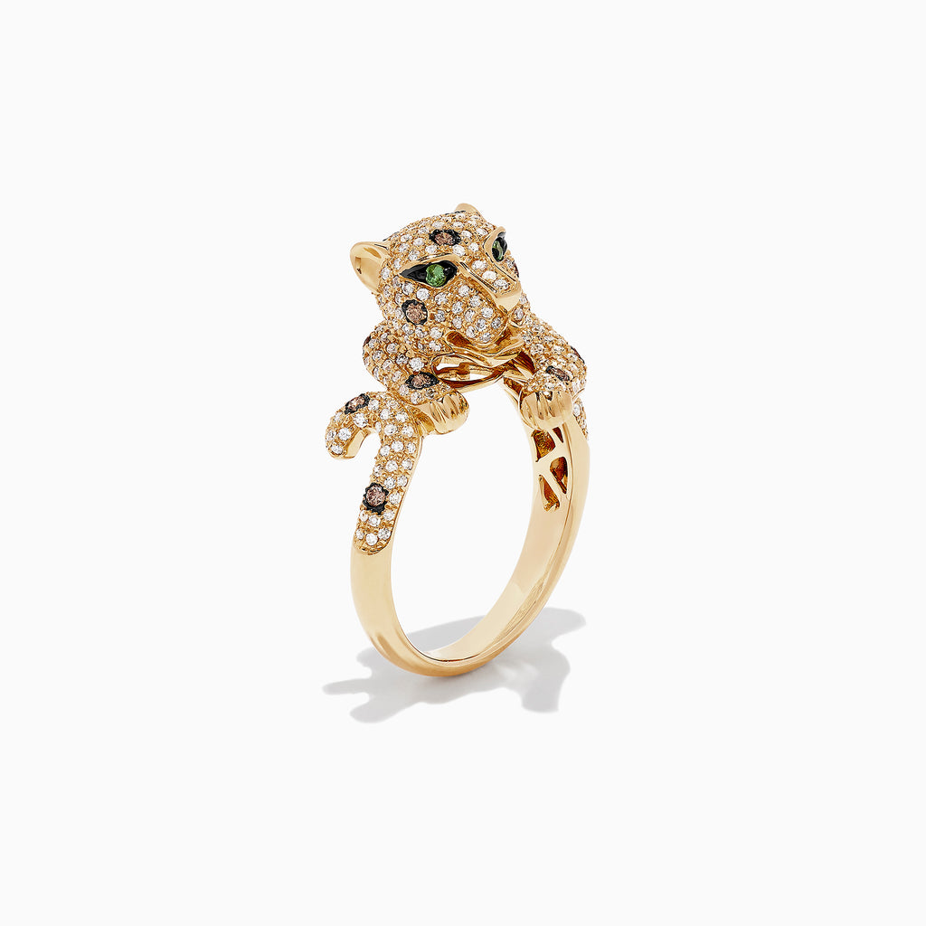 Effy Signature 14K Yellow Gold Diamond and Tsavorite Panther Ring, 1.14 TCW