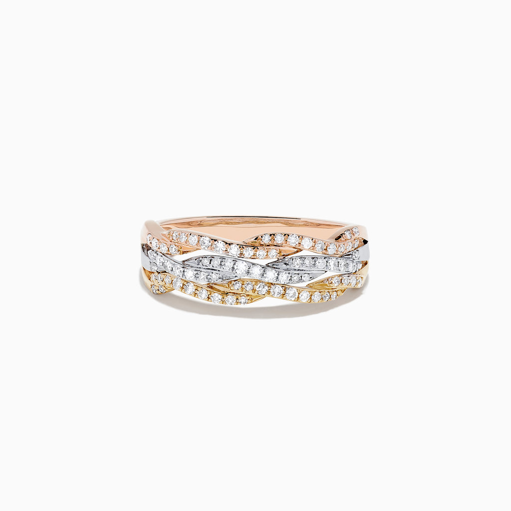 Effy 14K Tri Color Gold Diamond Ring, 0.34 TCW