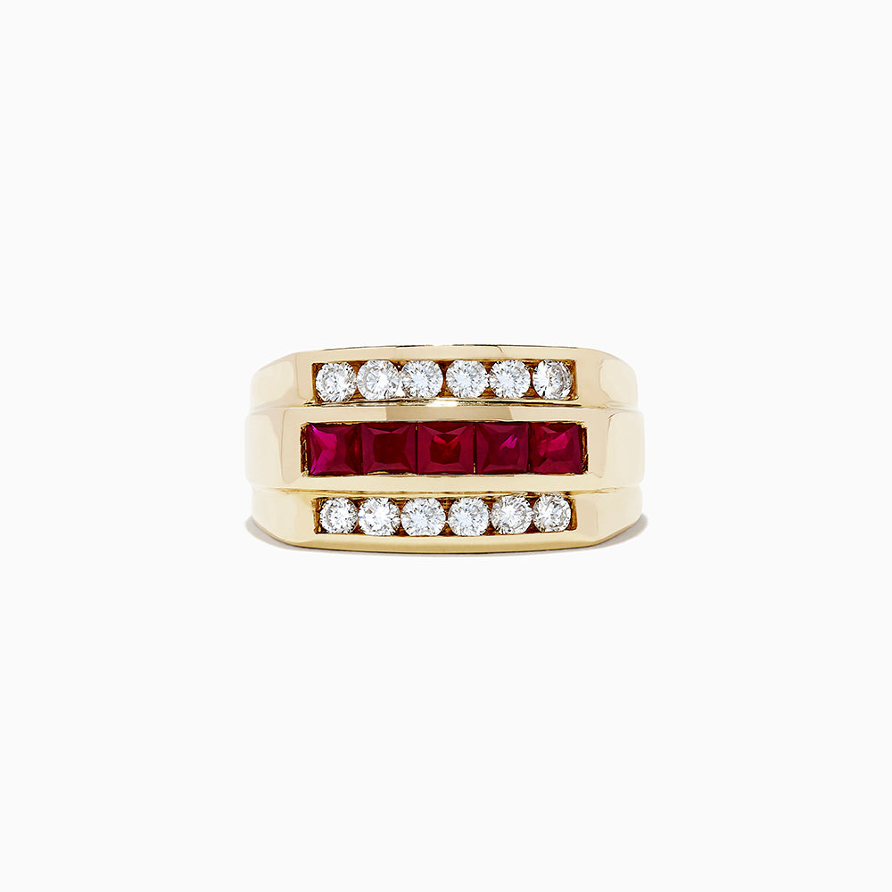 14K Yellow Gold Ruby and Diamond Men's Ring, 2.60 TCW