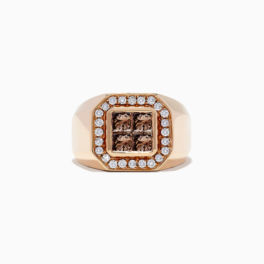 14K Rose Gold Cognac and White Diamond Men's Ring, 2.41 TCW