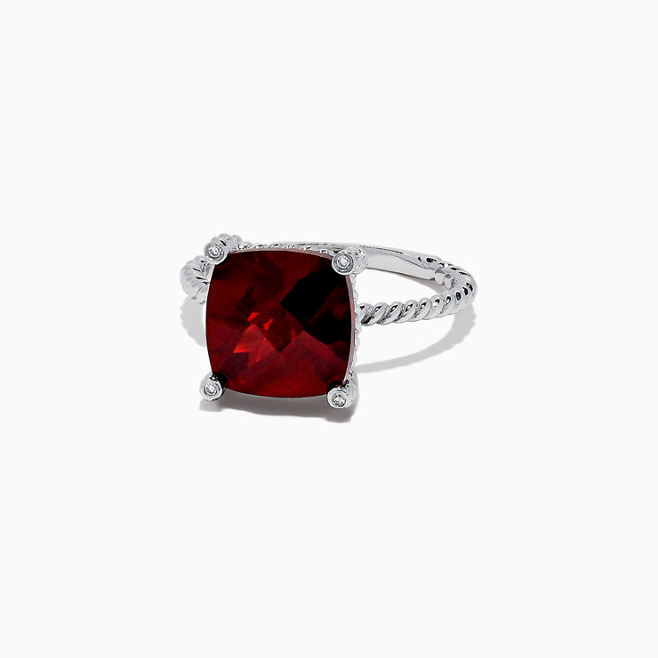 Effy 14K White Gold Rhodolite Garnet and Diamond Ring, 4.76 TCW