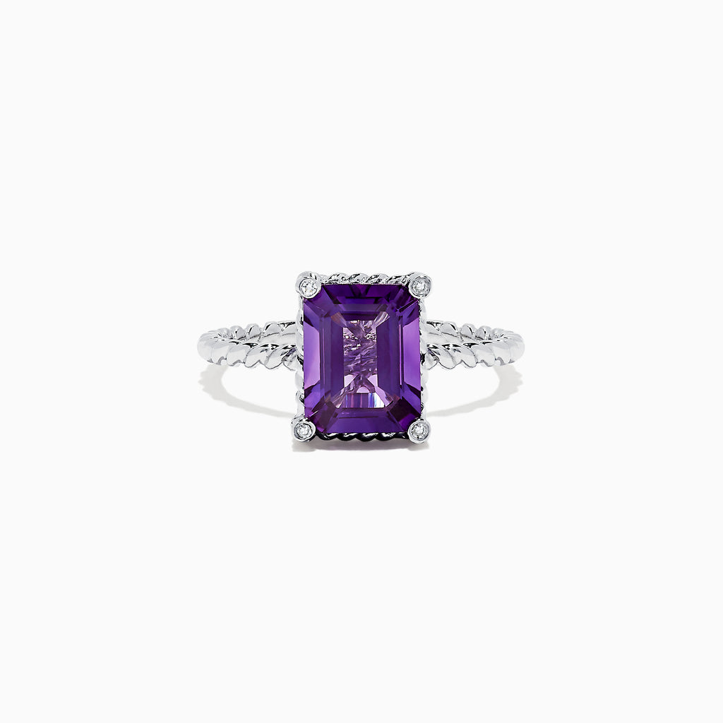 Effy 14K White Gold Amethyst and Diamond Ring, 2.10 TCW