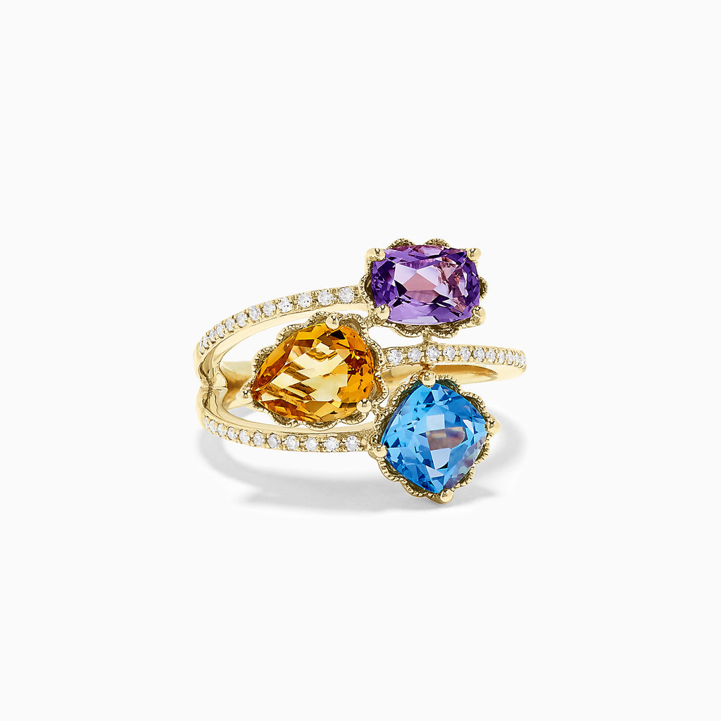 Effy 14K Yellow Gold Mix Gemstone and Diamond Ring, 3.63 TCW