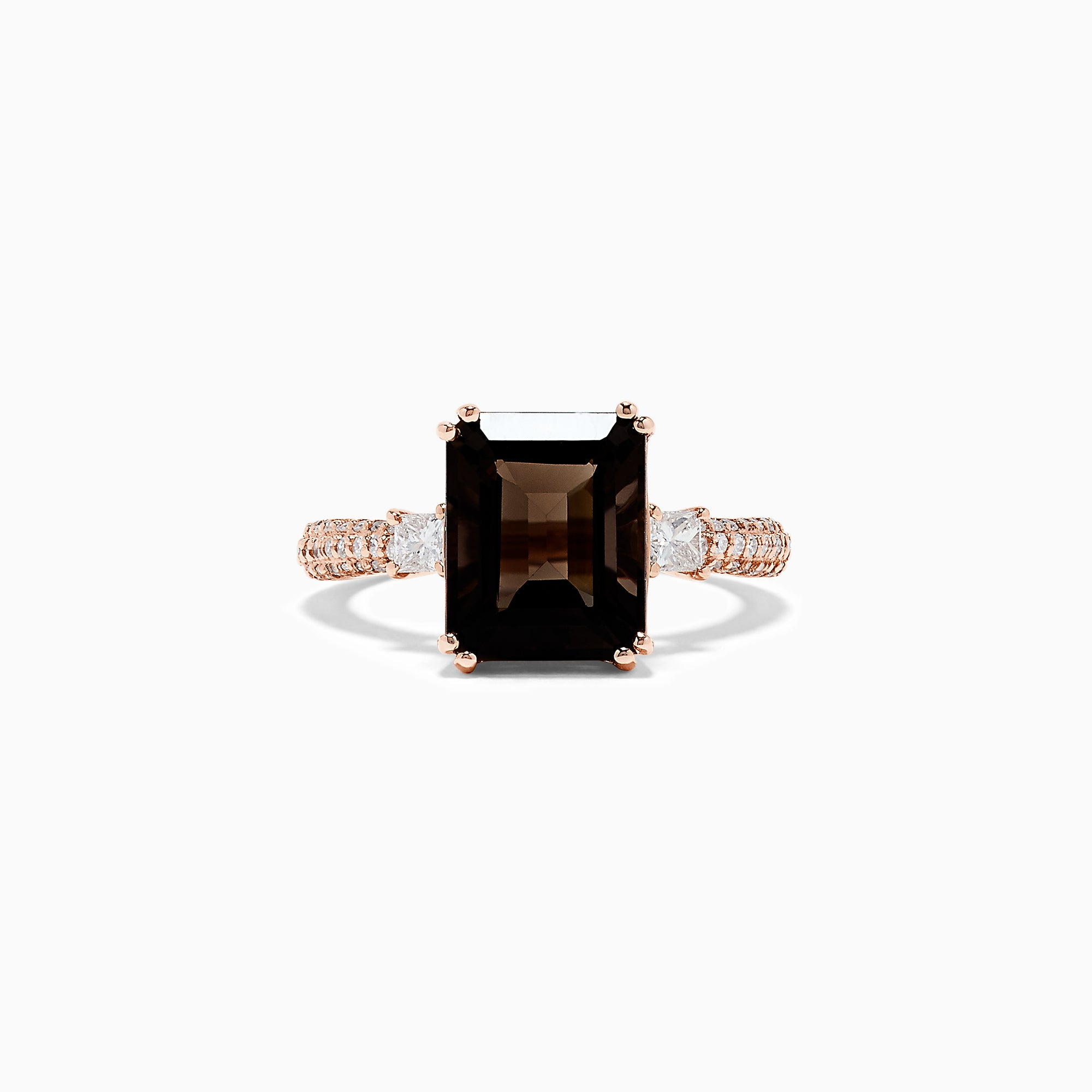 Effy 14K Rose Gold Smokey Quartz and Diamond Ring, 5.14 TCW