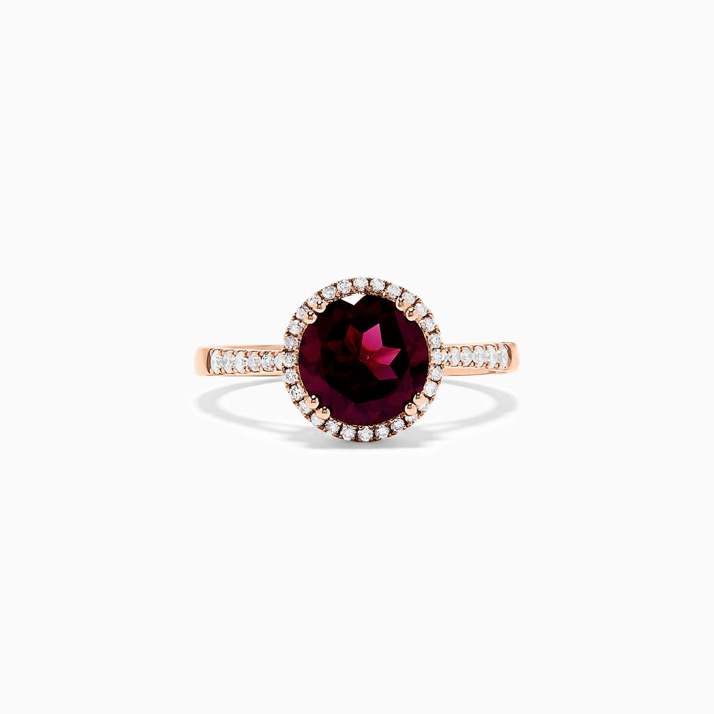 Effy 14K Rose Gold Rhodolite Garnet and Diamond Ring, 1.72 TCW