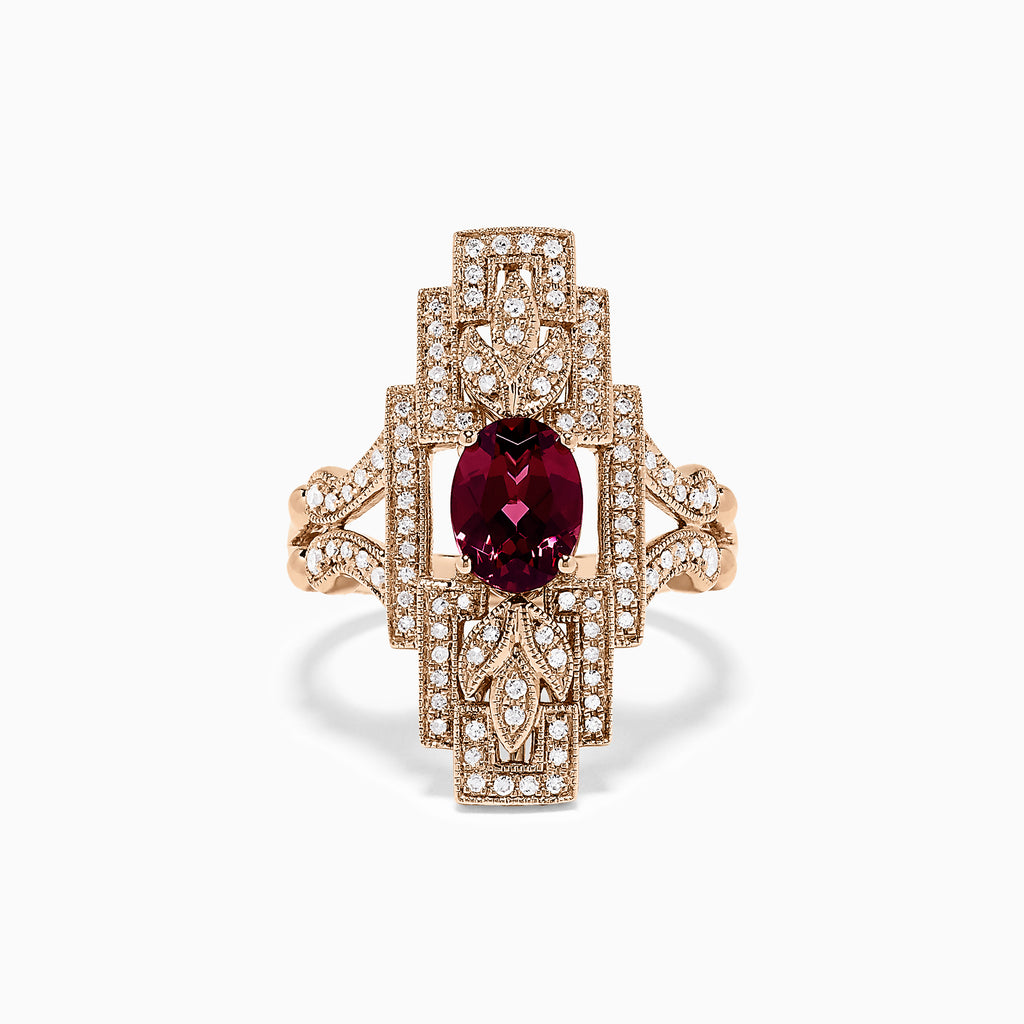 Effy 14K Rose Gold Rhodolite Garnet and Diamond Ring, 1.85 TCW