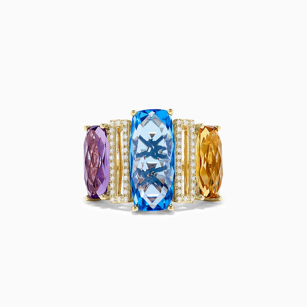Effy 14K Yellow Gold Mix Gemstone and Diamond Ring, 13.35 TCW