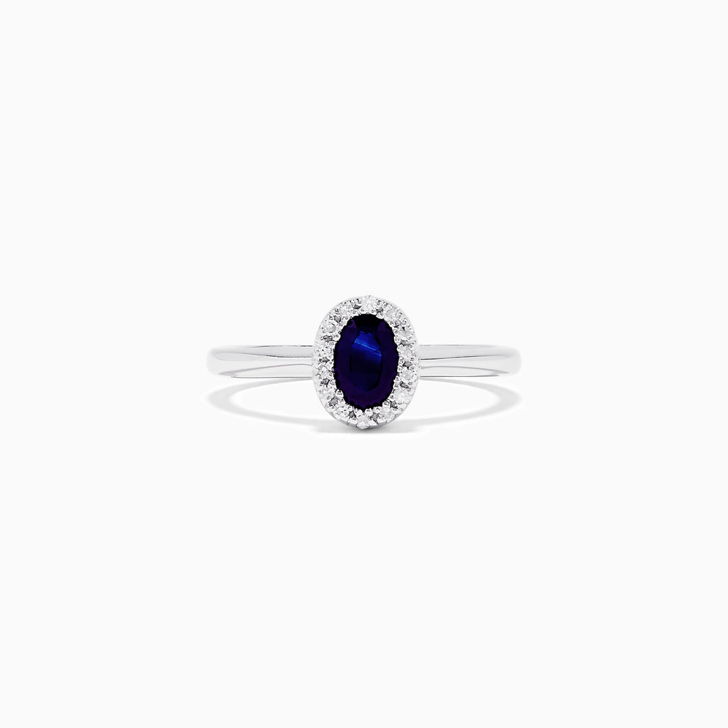 Effy 14K White Gold Blue Sapphire and Diamond Ring, 0.64 TCW