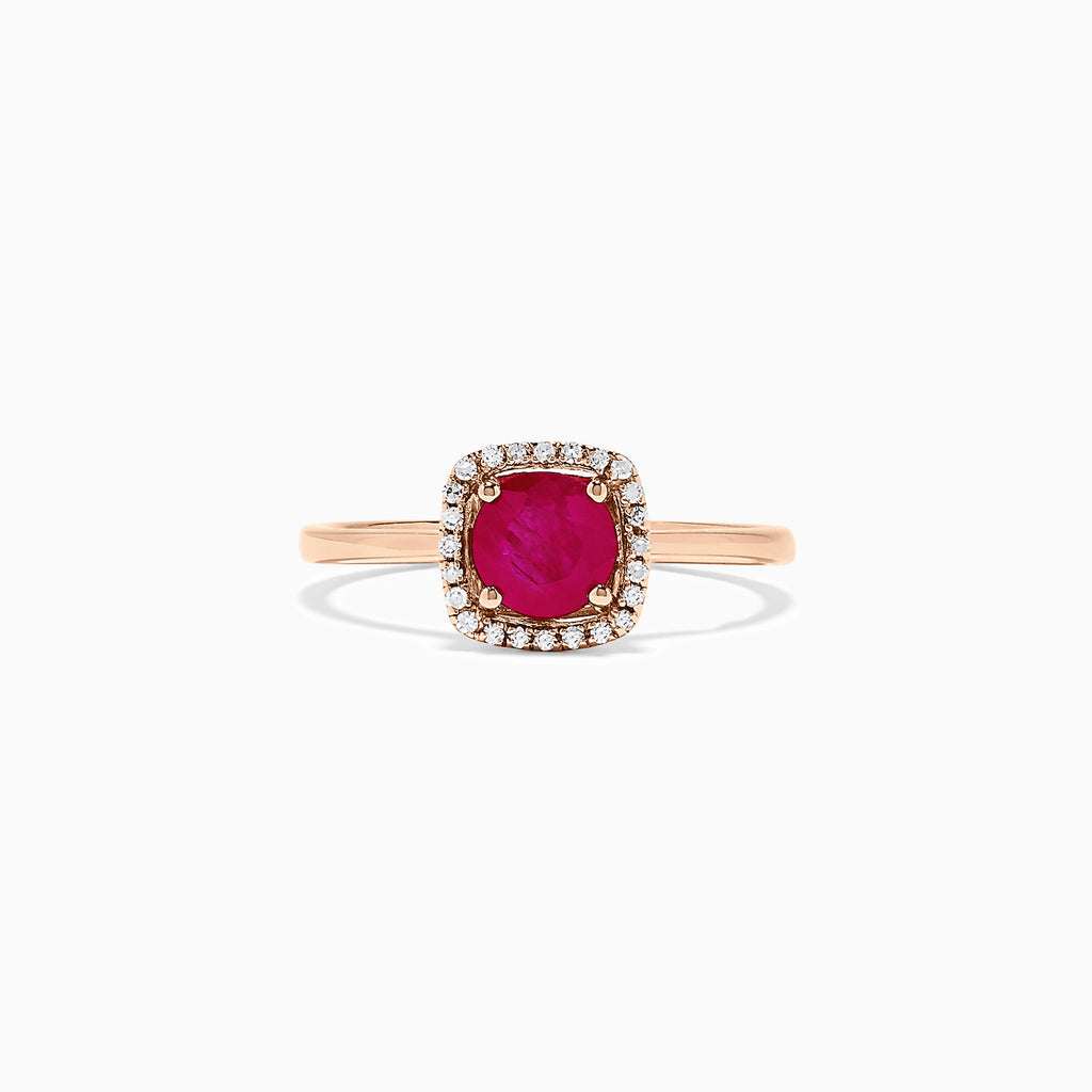 Effy 14K Rose Gold Ruby and Diamond Ring, 1.07 TCW