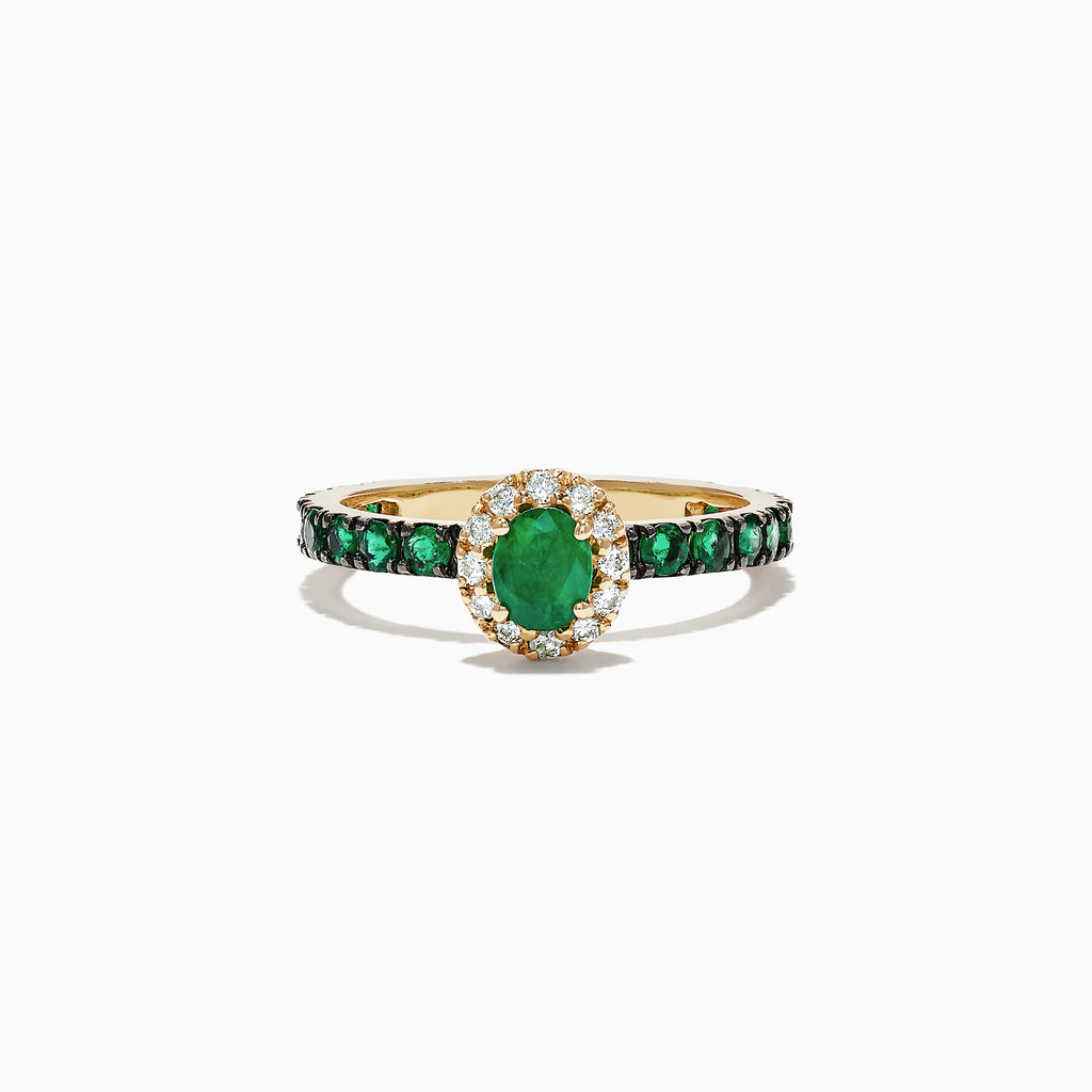 Effy Brasilica 14K Yellow Gold Emerald and Diamond Ring, 1.17 TCW