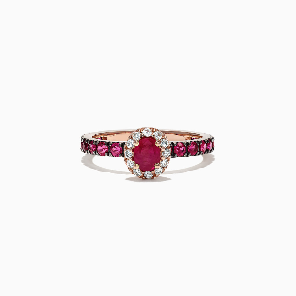 Effy Ruby Royale 14K Rose Gold Ruby and Diamond Ring, 1.52 TCW