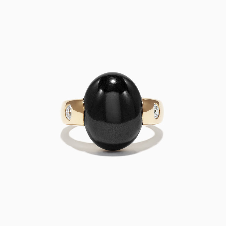 Effy Limited Edition Mens 14K Yellow Gold Onyx and Diamond Ring, 15.49 TCW