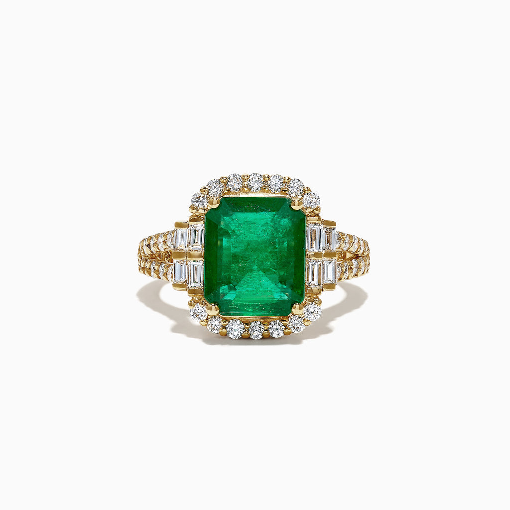 Effy Limited Edition 18K Yellow Gold Emerald and Diamond Ring, 4.87 TCW