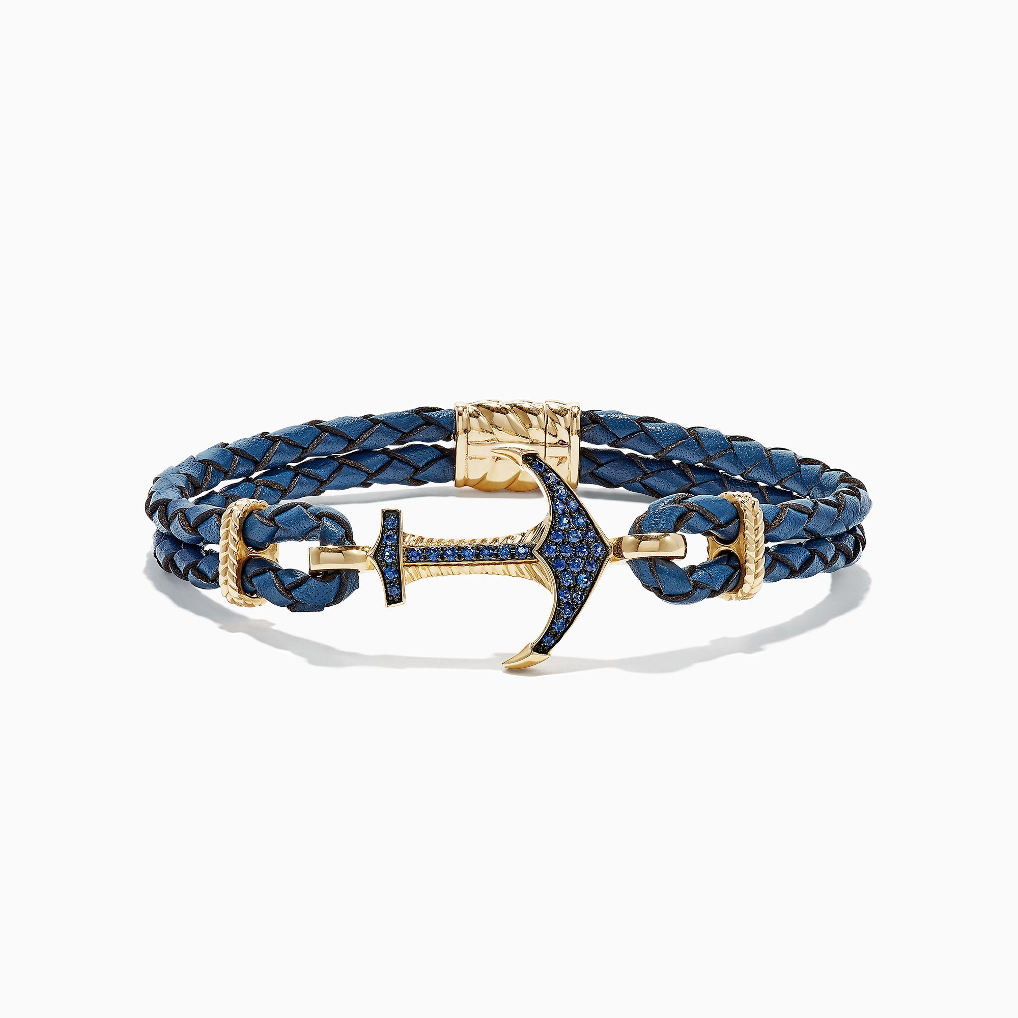 Effy Men's 14K Yellow Gold Blue Sapphire Anchor Bracelet, 0.80 TCW