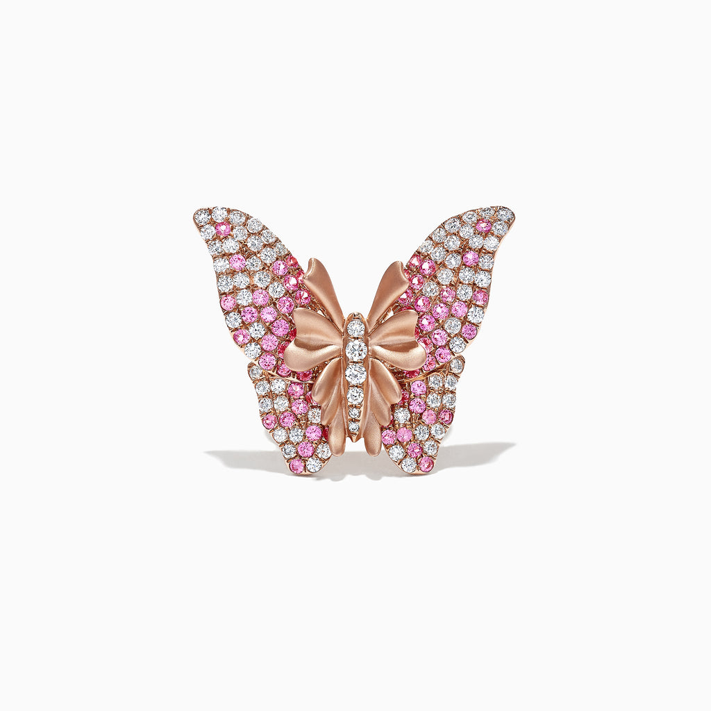 Effy Nature 14K Rose Gold Pink Sapphire & Diamond Butterfly Ring, 3.53 TCW