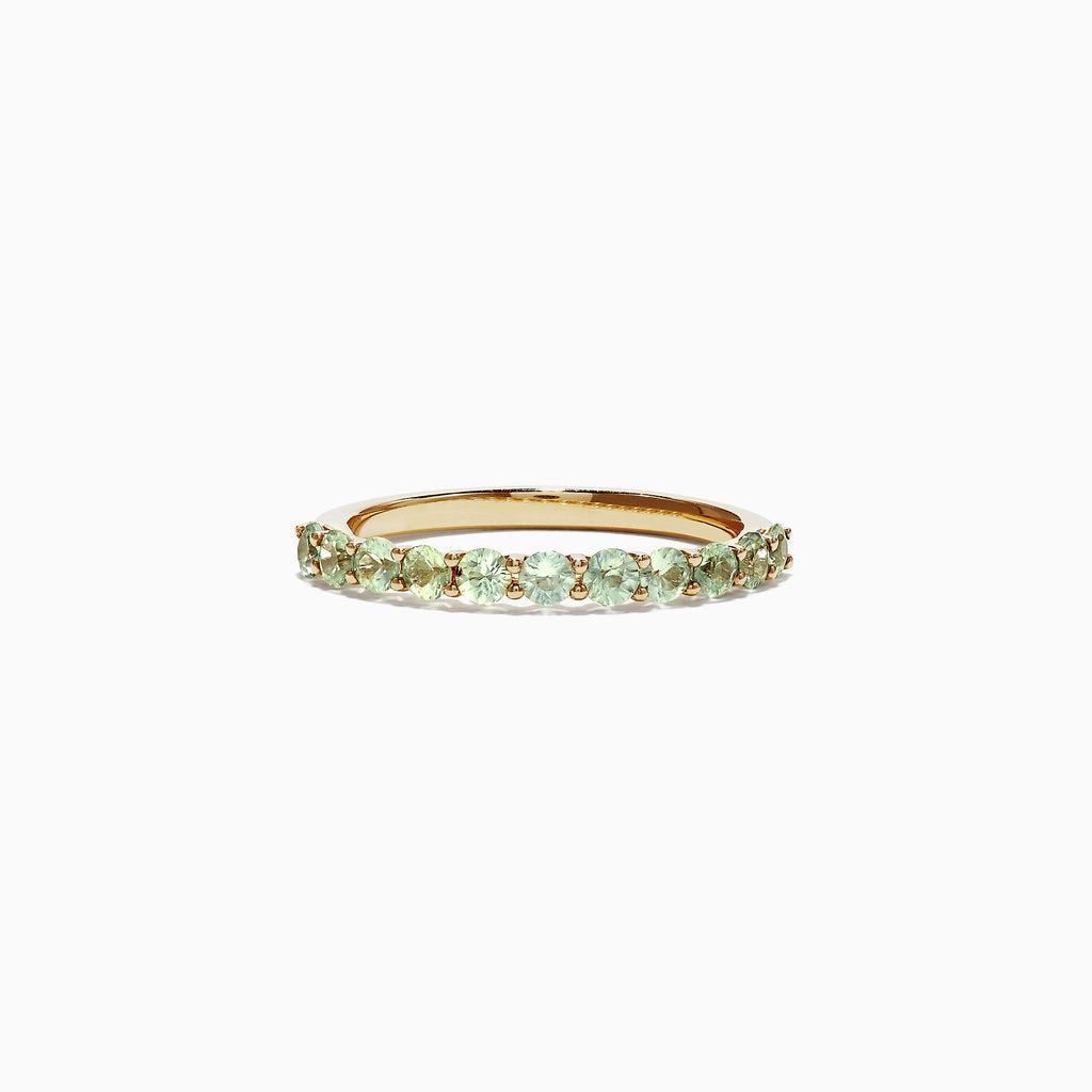 Effy 14K Yellow Gold Green and White Sapphire Band Ring, 0.94
