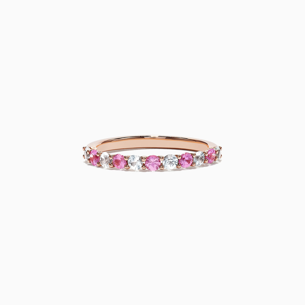 Effy 14K Rose Gold Pink and White Sapphire Band Ring, 0.94 TCW