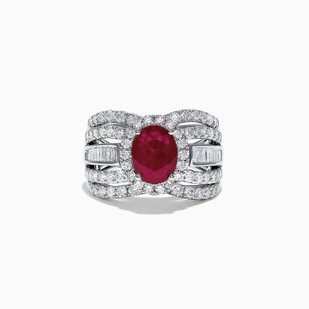 Effy Limited Edition 14K White Gold Ruby and Diamond Ring, 3.59 TCW