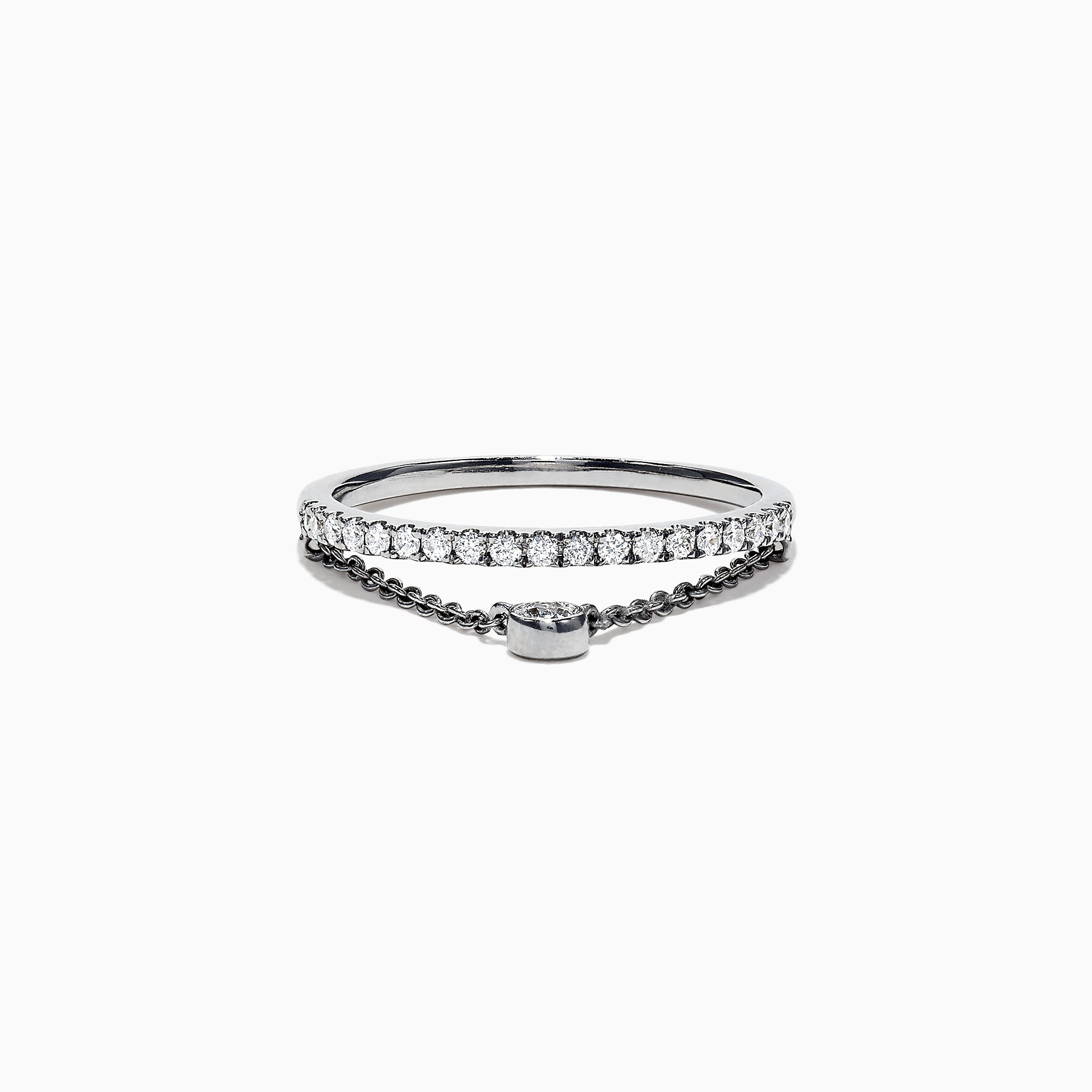 Effy Pave Classica 14K White Gold Diamond Band & Chain Ring, 0.24 TCW