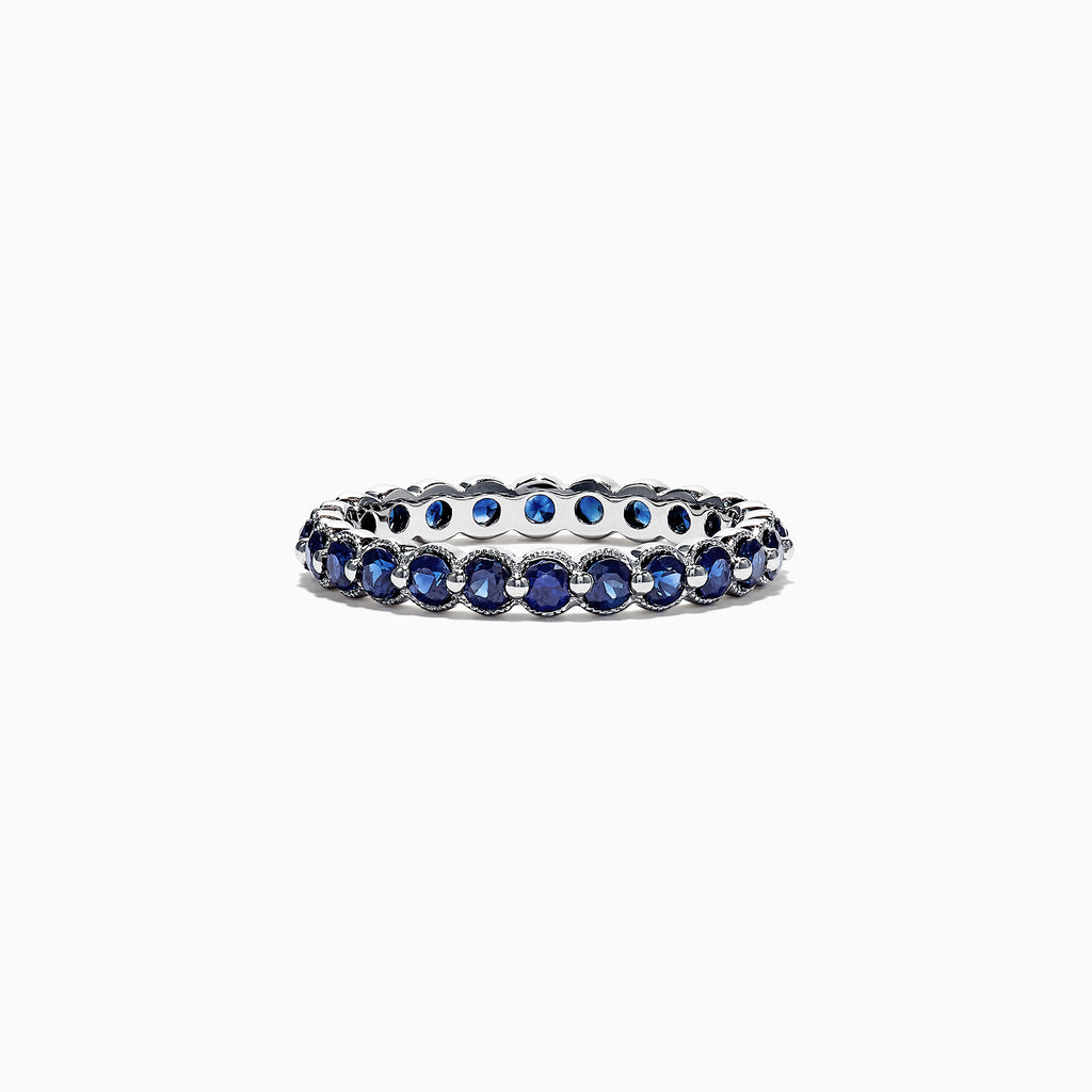 Effy Royale Bleu 14K White Gold Blue Sapphire Eternity Band Ring, 1.25 TCW