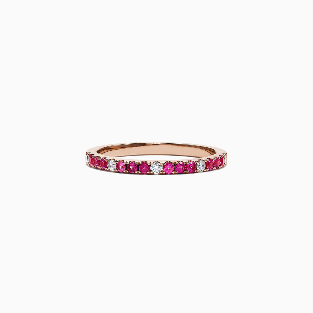 Effy 14K Rose Gold Pink Sapphire and Diamond Band Ring, 0.32TCW