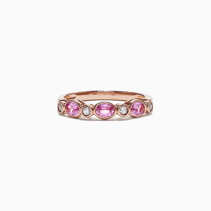 Effy 14K Rose Gold Pink Sapphire and Diamond Band Ring, 0.82 TCW
