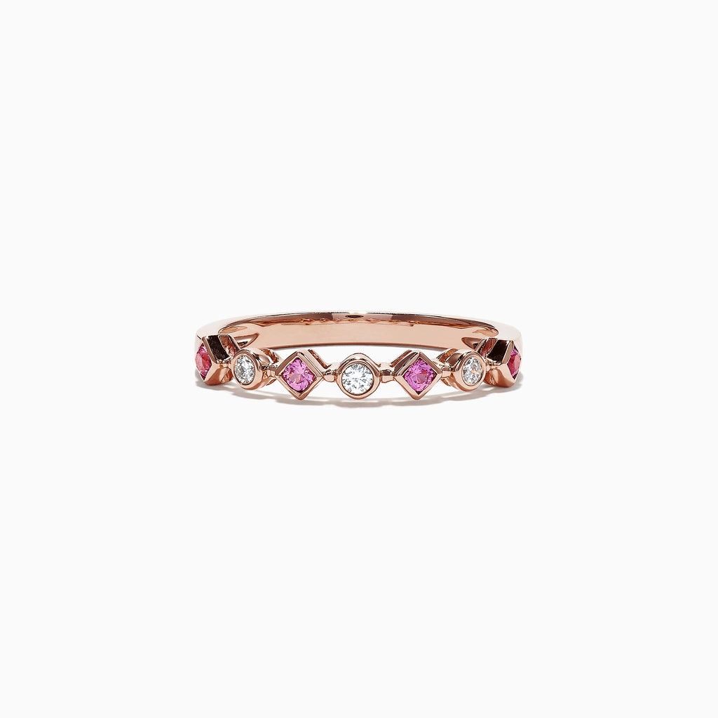 Effy 14K Rose Gold Pink Sapphire and Diamond Band Ring, 0.27 TCW