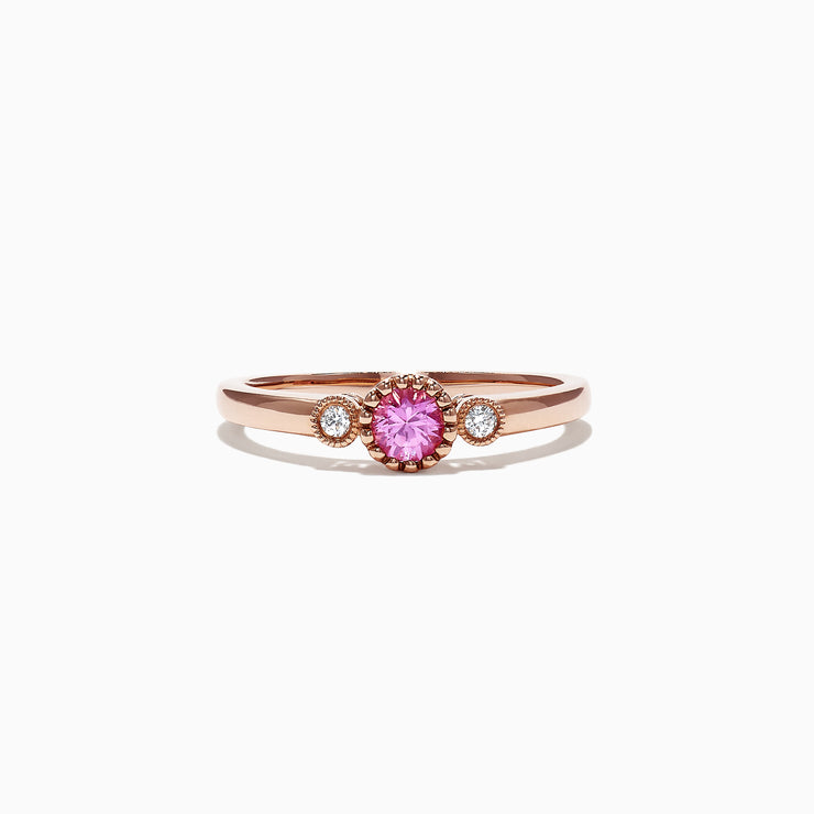 Effy 14K Rose Gold Pink Sapphire and Diamond Ring, 0.37 TCW