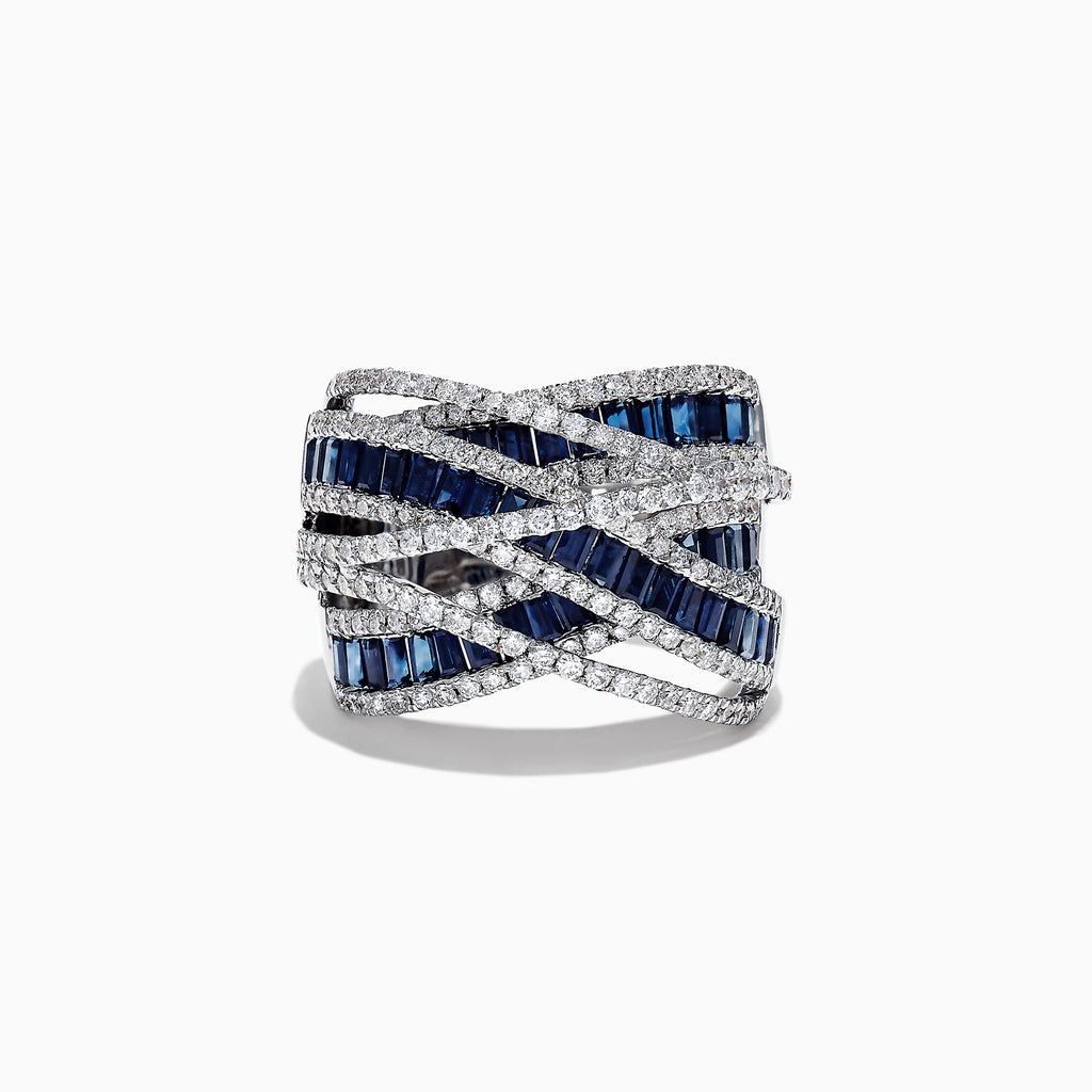 Effy Limited Edition 14K White Gold Sapphire and Diamond Ring, 3.95 TCW