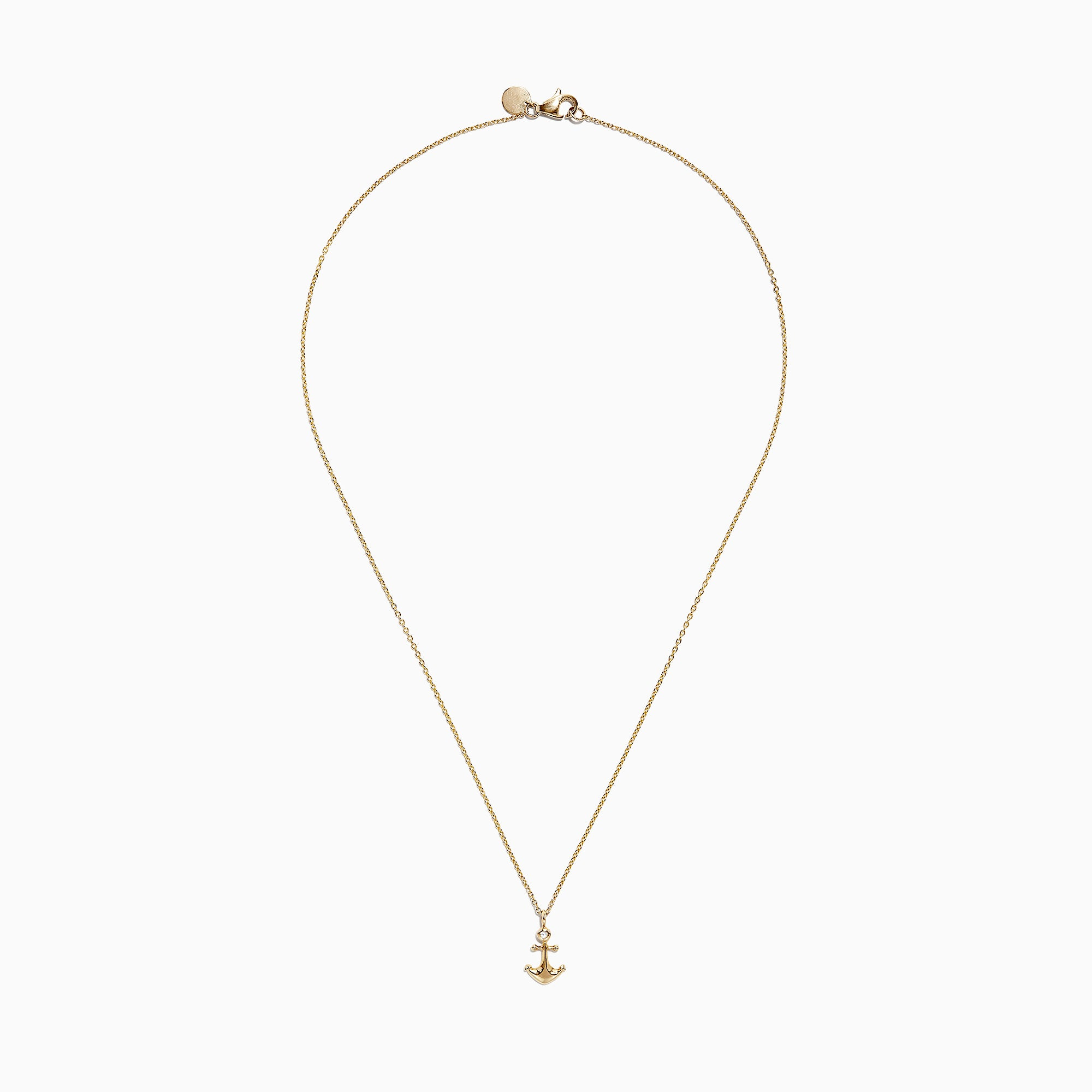 Effy Kidz 14K Yellow Gold Diamond Anchor Necklace, 0.01 TCW