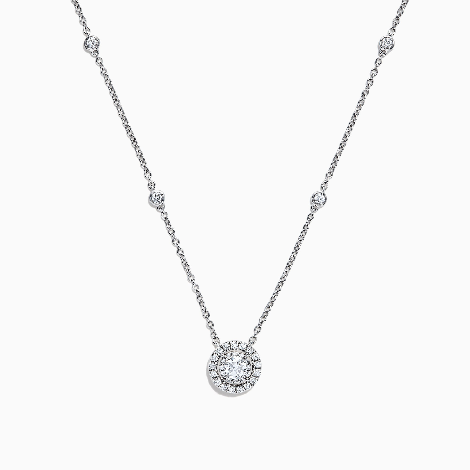 Effy Pave Classica 14K White Gold Diamond Halo Necklace, 0.54 TCW
