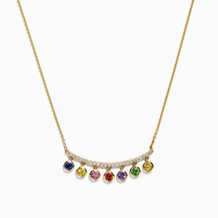 Effy Watercolors 14K Gold Multi Sapphire  & Diamond Necklace, 0.95 TCW