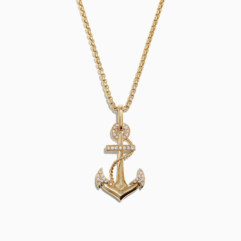 Effy Mens 14K Yellow Gold Diamond Anchor Pendant, 0.18 TCW
