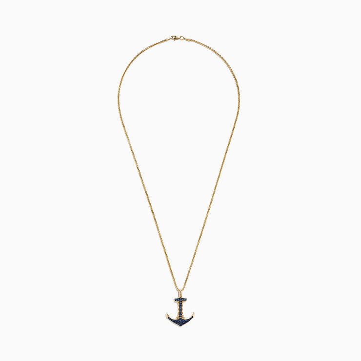 Effy Men's 14K Yellow Gold Sapphire Anchor Pendant, 0.73 TCW
