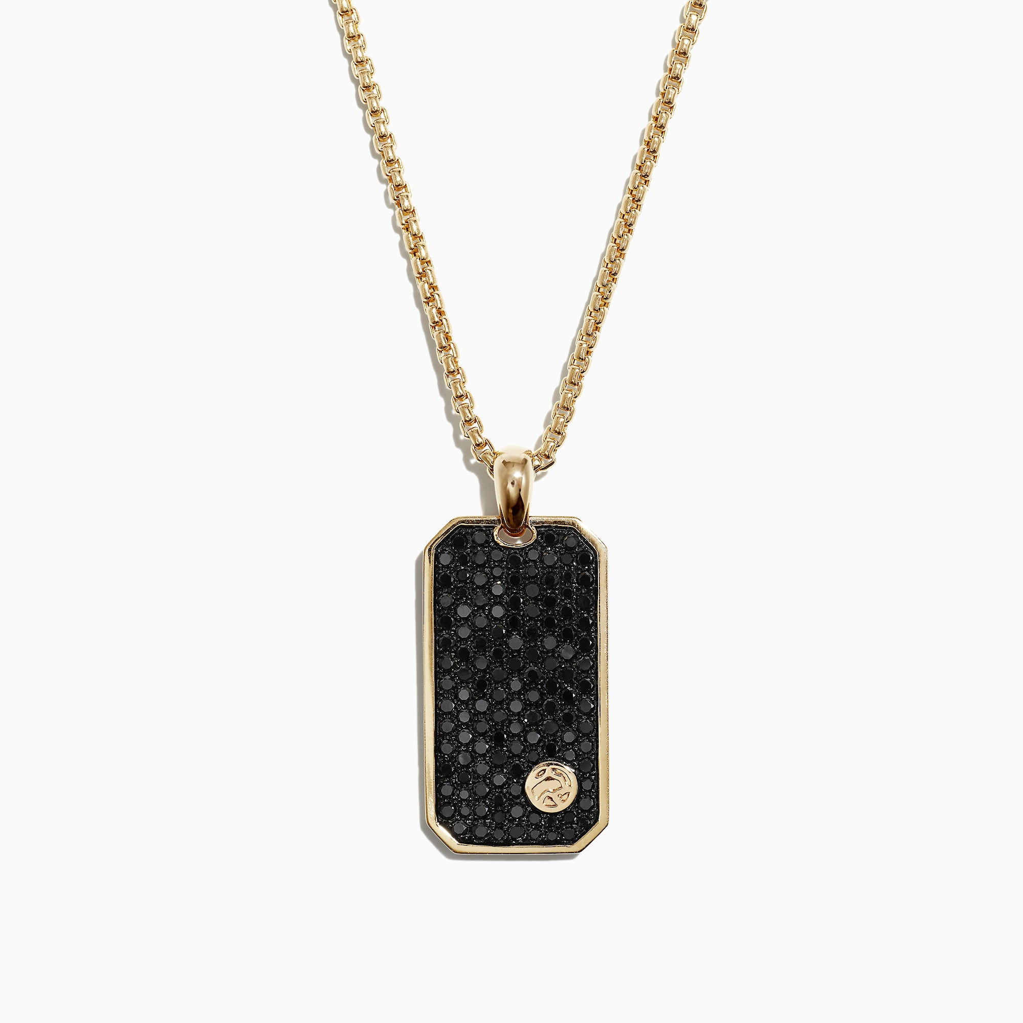 Effy Men's 14K Yellow Gold Black Diamond Dog Tag Pendant, 1.36 TCW