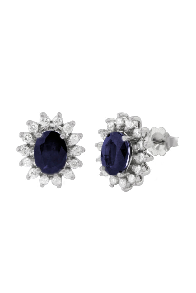 Gemma Royalty Sapphire and Diamond Earrings, 3.54 TCW