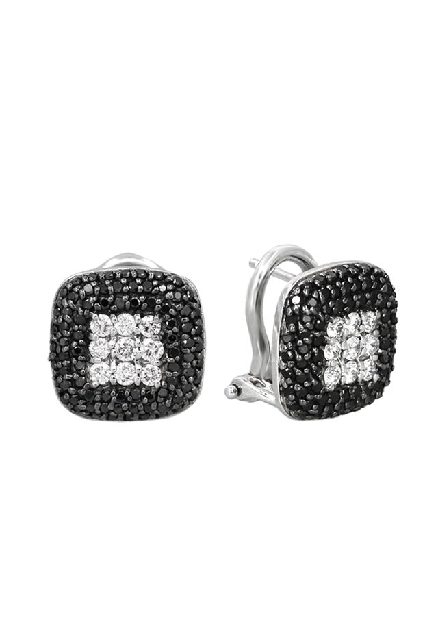 Effy 14K White Gold Black and White Diamond Earrings, .96 TCW