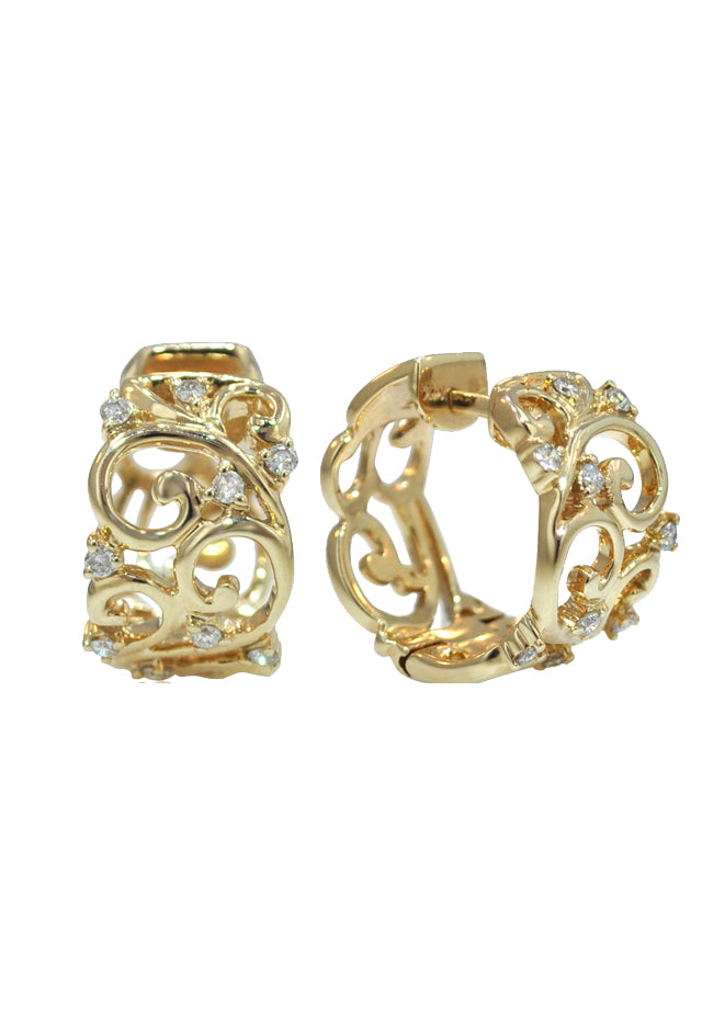 Effy D'Oro 14K Yellow Gold Diamond Filigree Earrings, 0.21 TCW