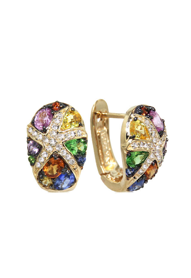 Effy Watercolors 14K Yellow Gold Sapphire & Diamond Earrings, 3.01 TCW