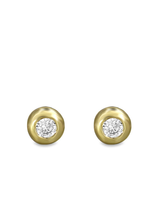 Yellow Gold Diamond Stud Earrings, .39 TCW