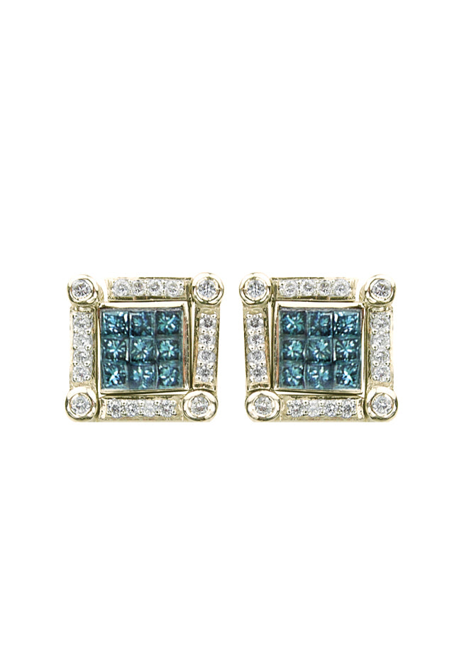 DiVersa Blue and White Diamond Earrings, 1.0 TCW