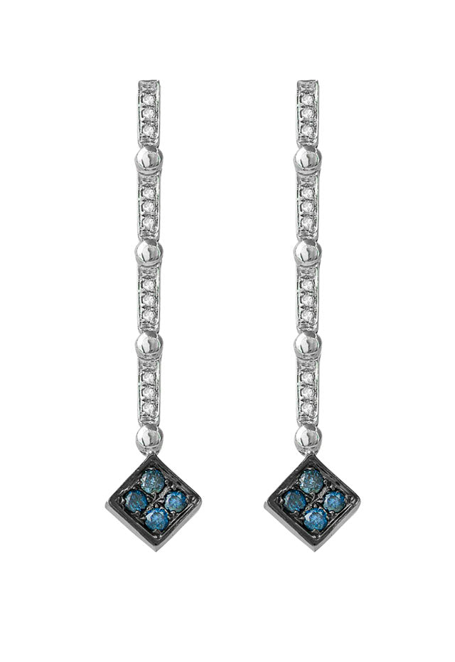 DiVersa Silver Blue & White Diamond Earrings, .42 TCW