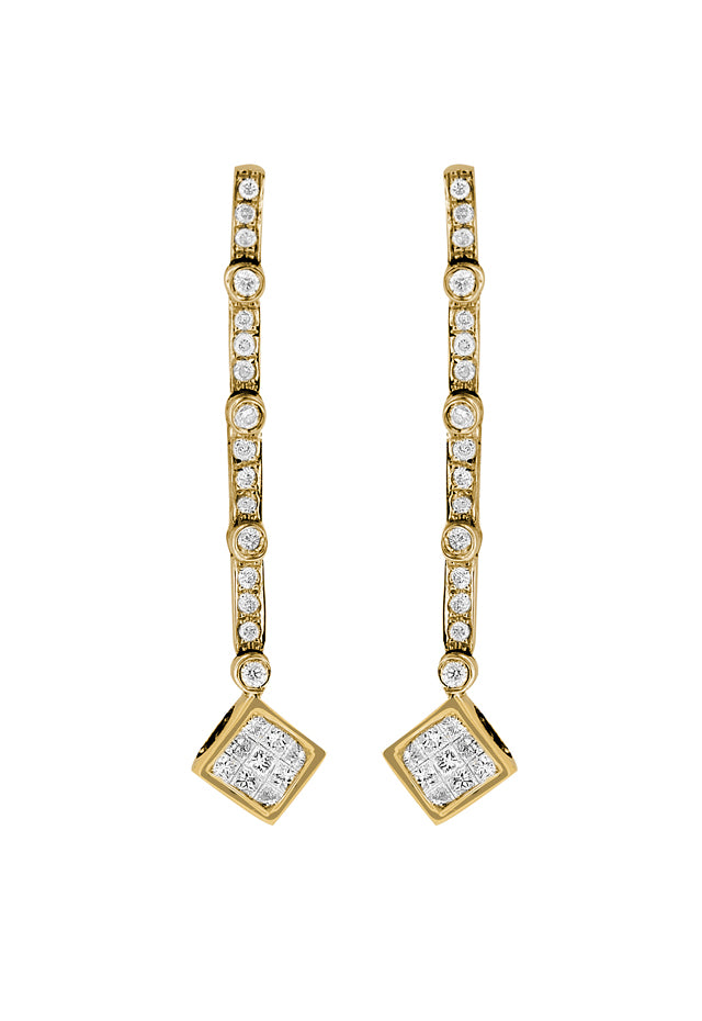 Diversa 14K Yellow Gold Diamond Earrings, .54 TCW