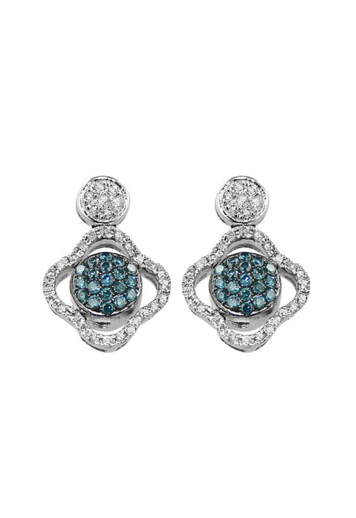 DiVersa Blue and White Diamond Earrings, .81 TCW