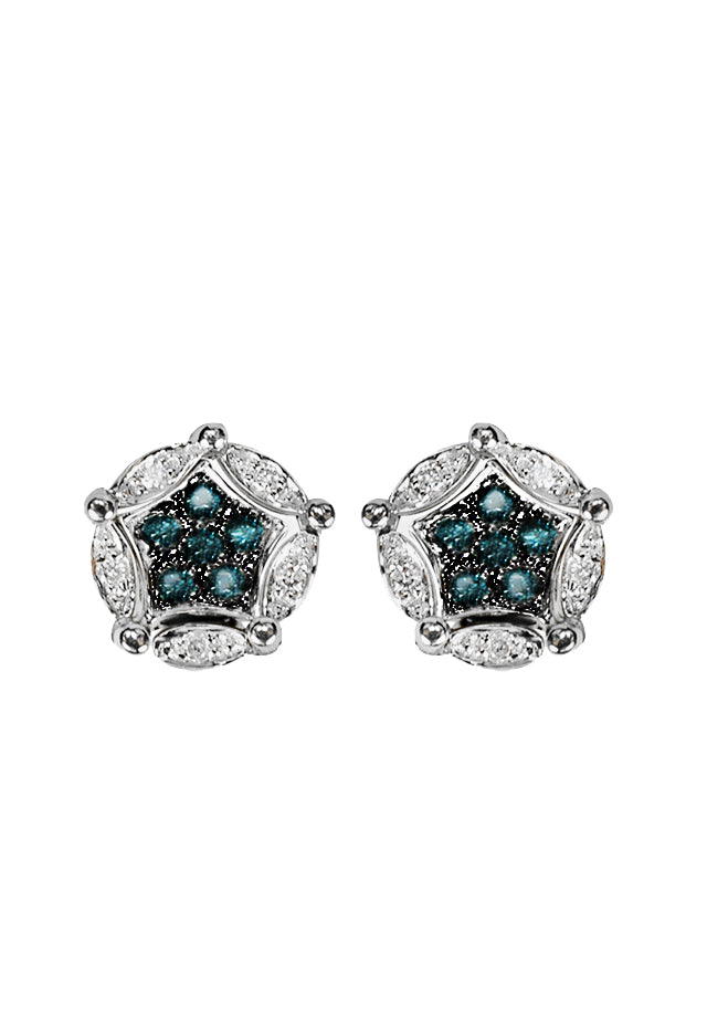 Effy DiVersa Sterling Silver Blue and White Diamond Earrings, 0.17 TCW
