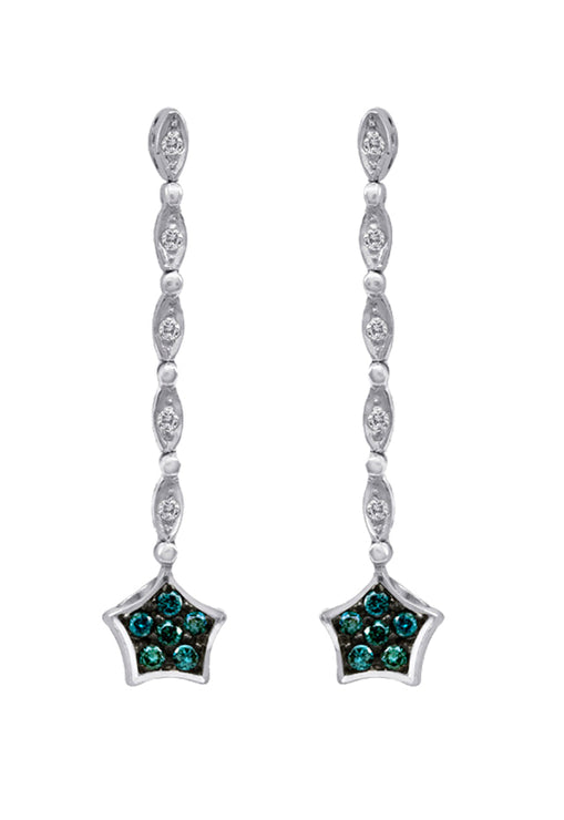 DiVersa Blue and White Diamond Earrings, .20 TCW