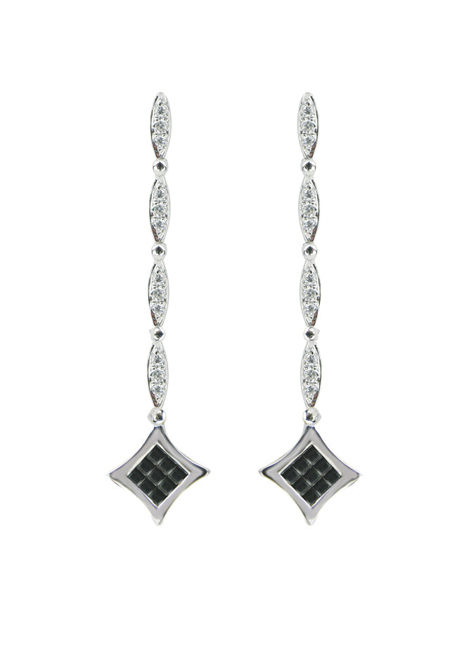 DiVersa Black and White Diamond Earrings, 1.0 TCW