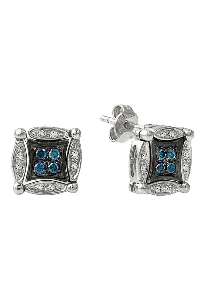Effy Diversa Sterling Silver Blue & White Diamond Earrings, 0.35 TCW